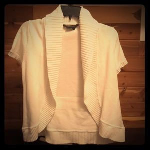 White short sleeved cardigan sweater